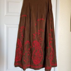Johnny Was Brown And Red Embroidered Skirt